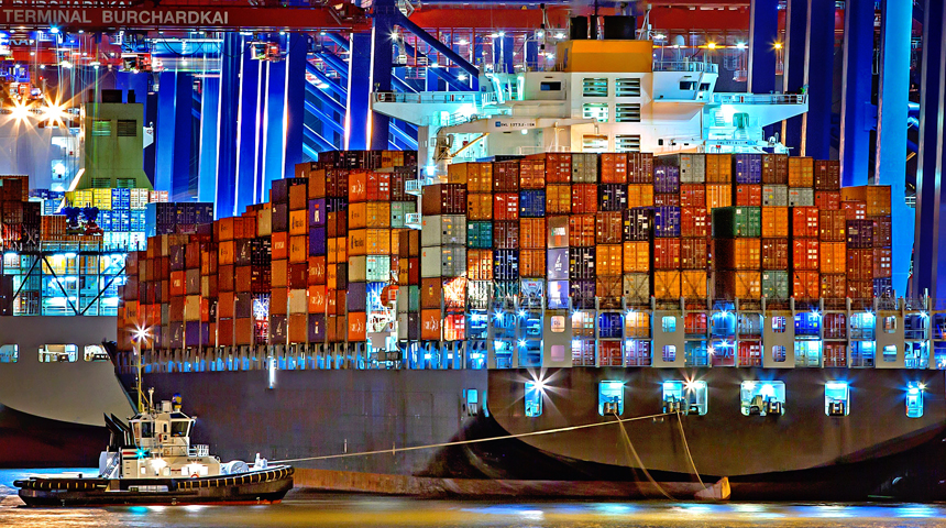 cargo boat and colorful containers with lights